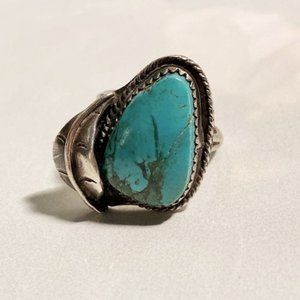 Sterling Silver Turquoise RIng Size 7.5